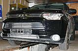 Декоративно-защитная сетка радиатора MITSUBISHI Outlander 2012-  бампер, фото 4