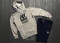 Весенний костюм спортивный Adidas Originals с капюшоном серый верх топ реплика
