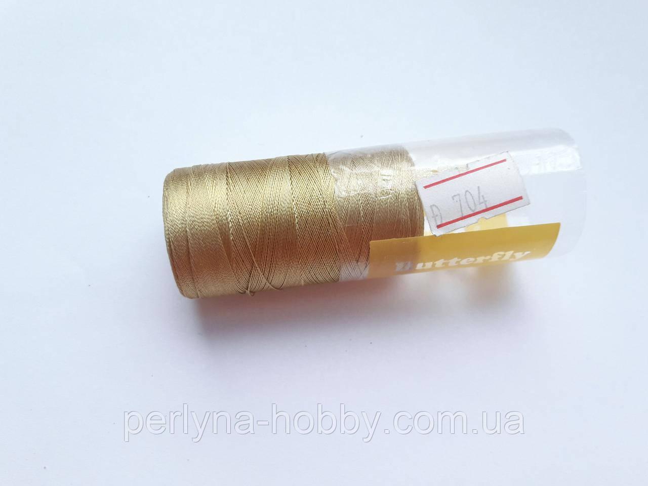 Нитки шелковые вискоза, для ручной и машинной вышивки, для серг-кисточек Індія.Золотистий . № 704