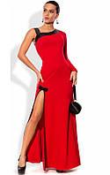 Красное платье в пол с асимметричным декольте