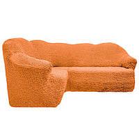 Чехол на угловой диван без юбки светлый беж