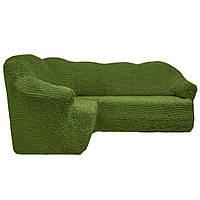 Чехол на угловой диван без юбки фисташка