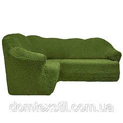 Чехол на угловой диван 3ххл  без юбки фисташка.