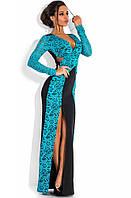 Гипюровое двустороннее вечернее платье в пол голубое
