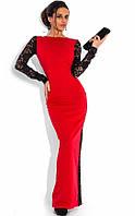 Гипюровое двустороннее вечернее платье в пол красное