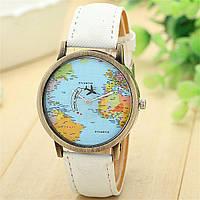 Часы карта мира стрелка самолет