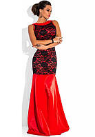 Красное платье в пол из королевского атласа