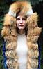 Джинсовая куртка с мехом лисы и капюшоном