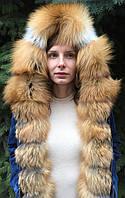 Джинсовая куртка с мехом лисы и капюшоном, фото 1