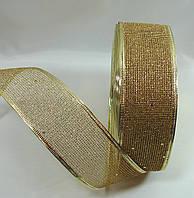 """Золотая лента""""сетка"""" для бантов с проволочным краем(5см)1 рулон-45м, фото 1"""