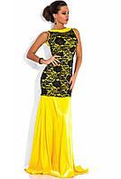 Желтое платье в пол из королевского атласа