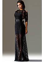 Ажурное черное платье в пол с рукавом три четверти
