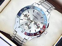 Серебристые часы Pandora с дополнительными циферблатами, красные стрелки, фото 1