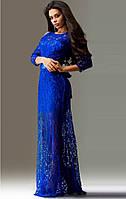 Ажурное синее платье в пол с рукавом три четверти
