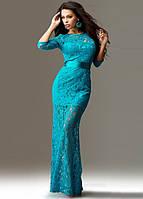 Ажурное голубое платье в пол с рукавом три четверти