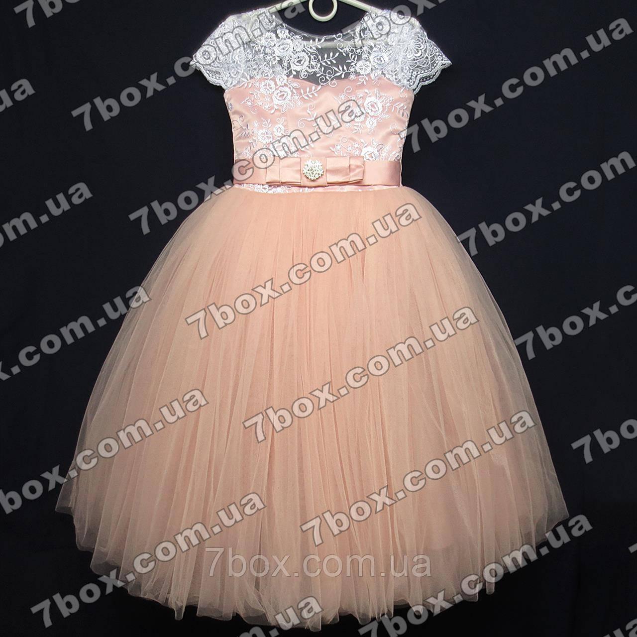 Детское нарядное платье бальное Грация (персиковое) Возраст 6 лет.