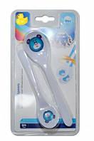 Ложечки из меламина (2 шт) медвеженок синий, белая ручка, Canpol babies (4/530-7)
