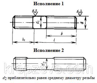Схема габаритных размеров шпильки ГОСТ 22038