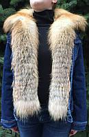Джинсовая куртка с мехом лисы короткая