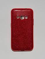 Красивая силиконовая накладка Samsung J1 2016 J120 красная мерцающая