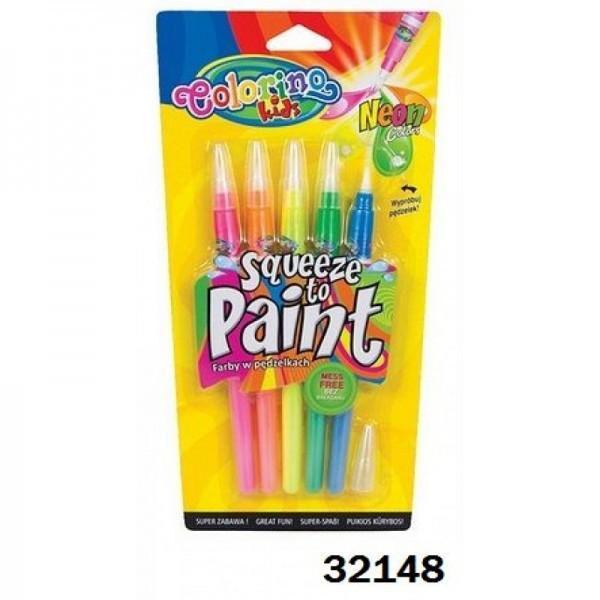 Ручка neon с кисточкой 5 цветов Colorino