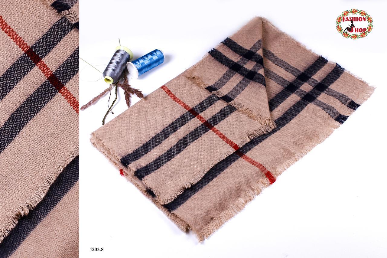 Серый стильный шерстяной шарф-плед