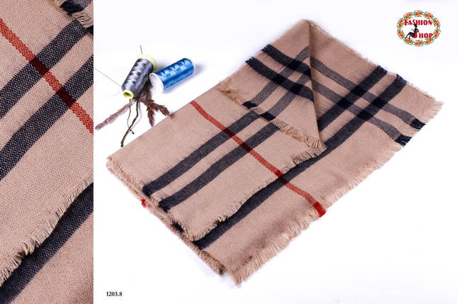 Сірий стильний вовняний шарф-плед, фото 2