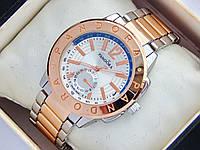 Женские часы Pandora комбинированные - розовое золото серебро с дополнительным циферблатом, синяя полоса, фото 1