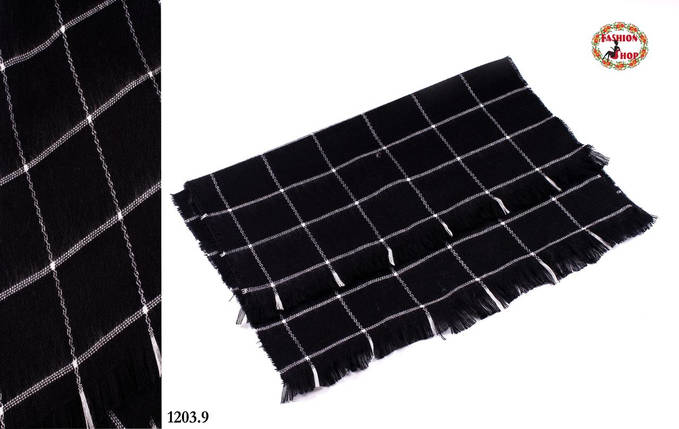 Чёрный стильный шерстяной шарф-плед, фото 2