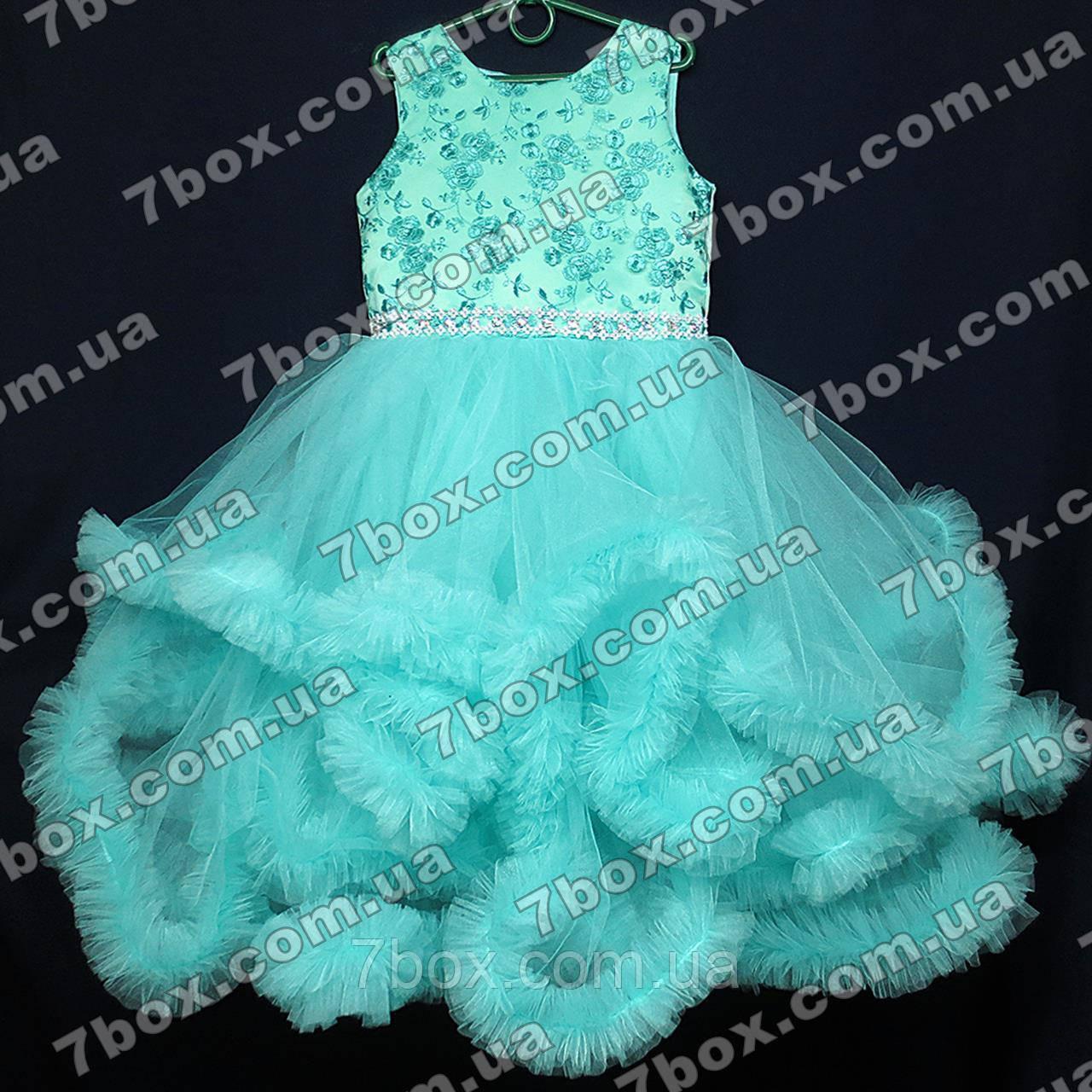 Детское платье ОБЛАКО (мятное, бирюзовое) Возраст 6-8 лет.