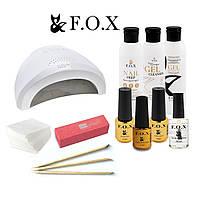 Стартовый набор для маникюра гель лаком FOX с гибридной лампой SUN1 UV LED 48 W
