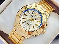 Женские часы Pandora золотого цвета с дополнительным циферблатом, синяя полоса, фото 1