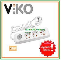 Удлинитель с заземлением с кнопкой на 3 гнезда - 3 м кабель VIKO