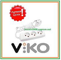 Удлинитель без заземления на 3 гнезда - 2 м кабель VIKO