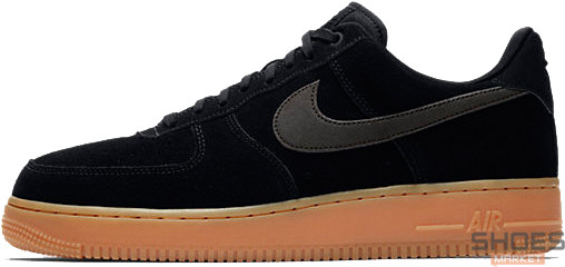 Мужские кроссовки Nike Air Force 1 '07 LV8 Suede Black/Gum, Найк Аир Форс