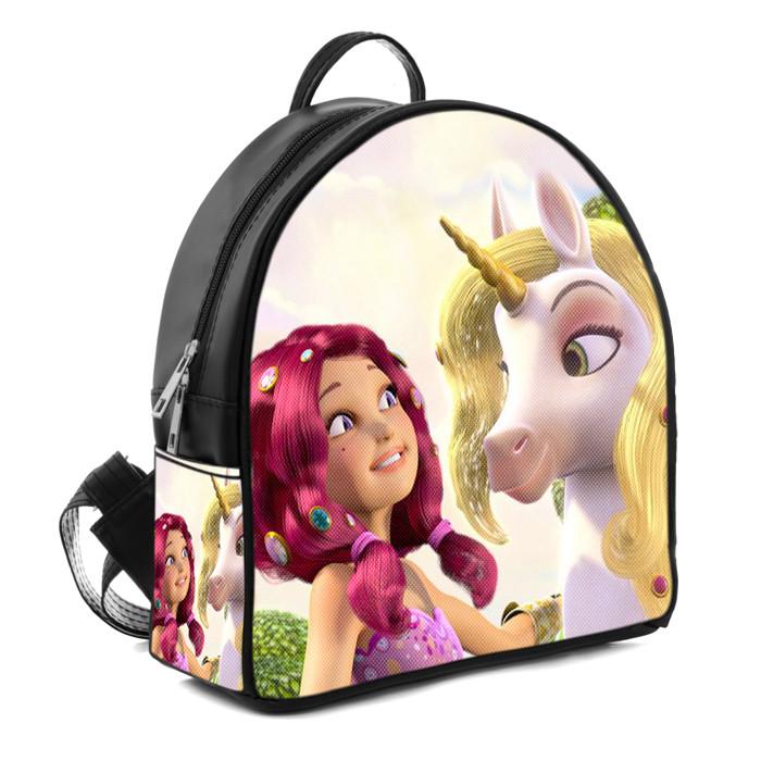 Черный рюкзак для девочки с принтом Мия и Я