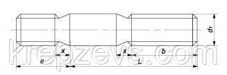 Схема габаритных размеров шпильки DIN 835