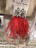 Серьги со стразами и перьями страуса, фото 1