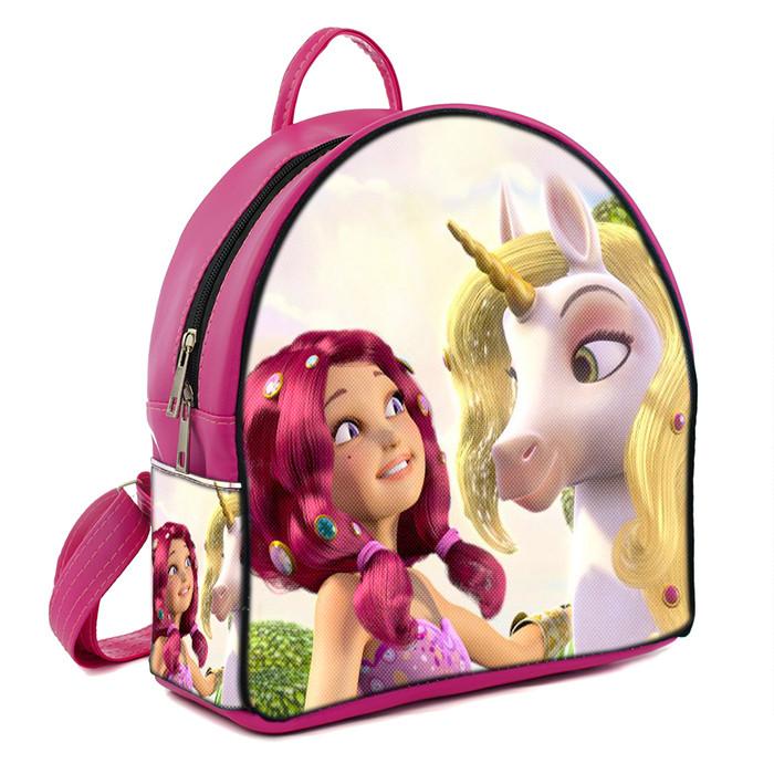 Розовый рюкзак для девочки с принтом Мия и Я