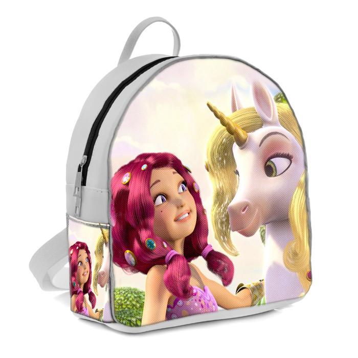 Белый рюкзак для девочки с принтом Мия и Я