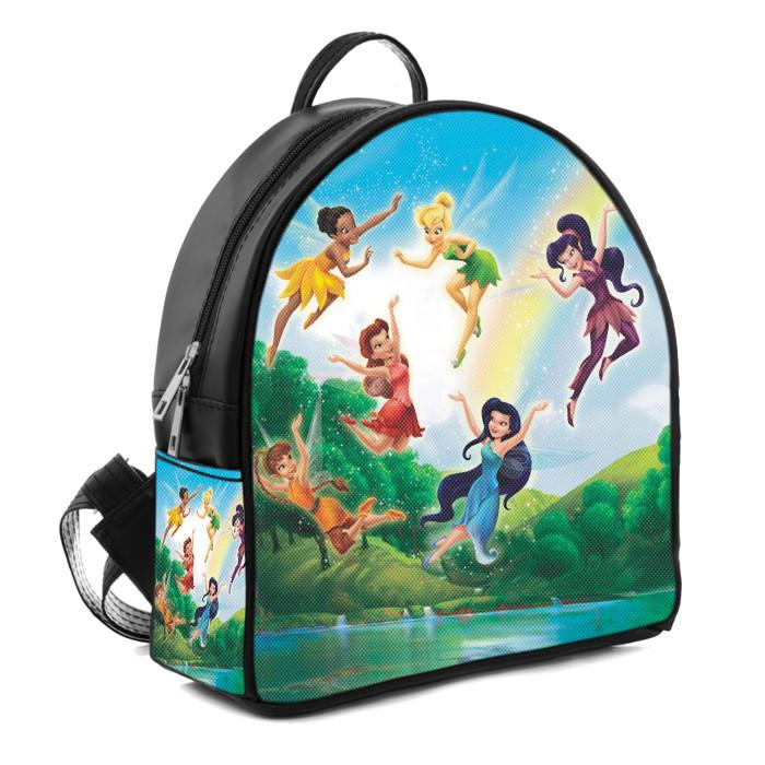Черный рюкзак для девочки с принтом Феи
