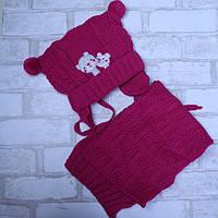 Шапка и шарф для девочки розовая