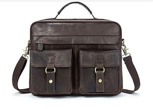 Деловой кожаный мужской портфель Marranti M8001J, серый