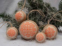 Набор елочных шаров «Снежинки» оранжевого цвета