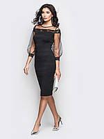 Изысканое платье из дайвинга и рукавами из фатина черный