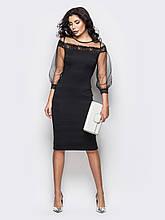 Облегающее платье-миди с рукавами и кокеткой из фатина
