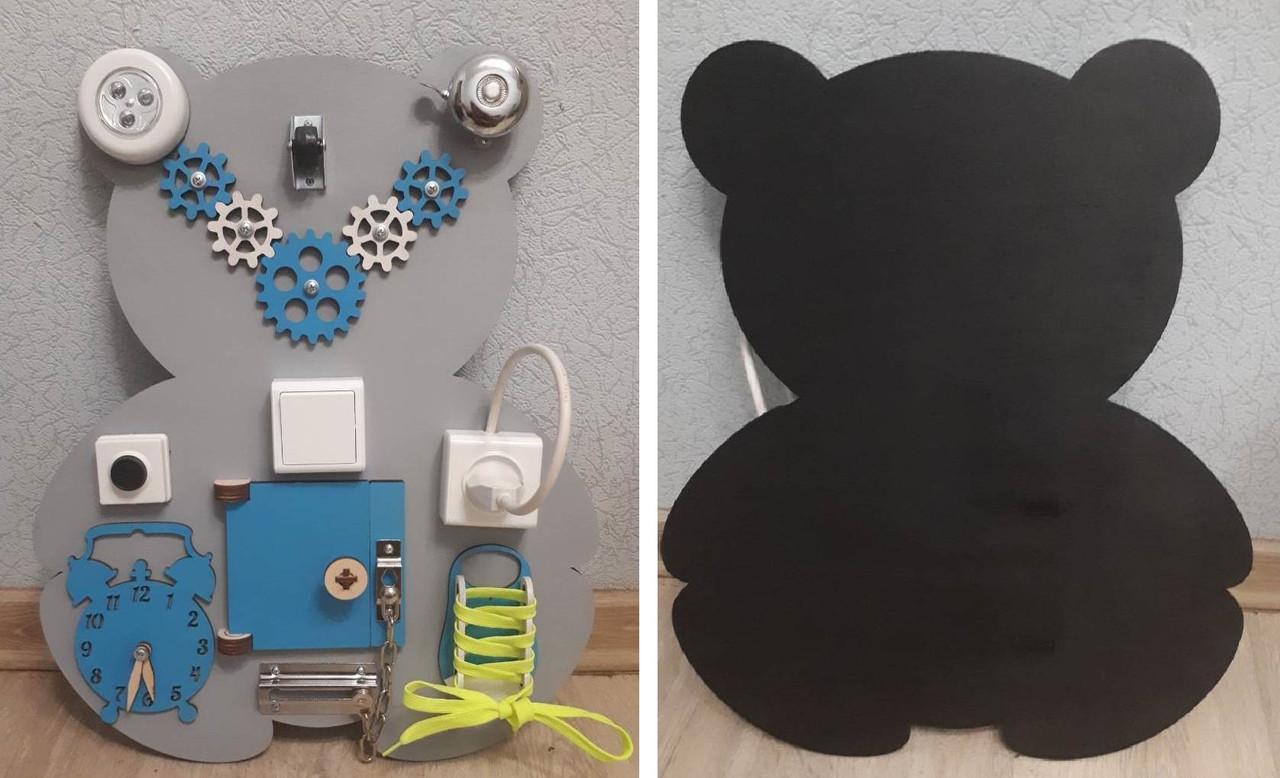 Развивающая доска Бизиборд Мишка с мелованной доской