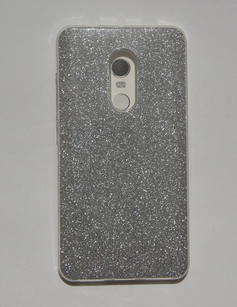 Красивая силиконовая накладка Xiaomi Redmi Note 4x серебристое мерцание