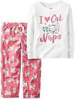 Пижама 2 в 1 с флисовыми штанами Carters «I love cat»
