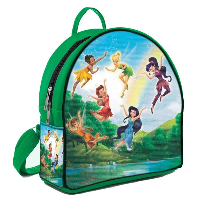 Зеленый рюкзак для девочки с принтом Феи